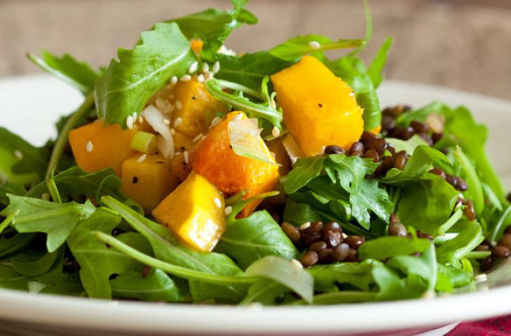 Pumpkin Salad with Rocket & Lentils